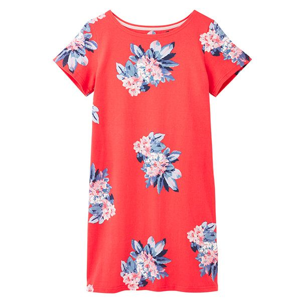 Joules Floral Red Riviera Print Printed Dress with Short Sleeves