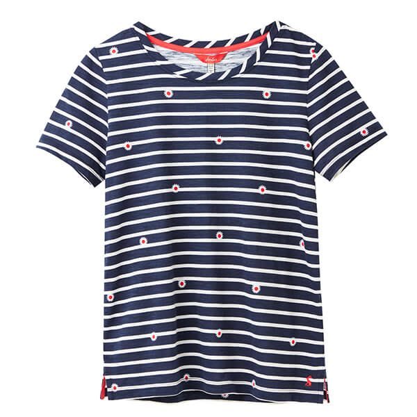 Joules Daisy Stripe Carley Print Classic Crew