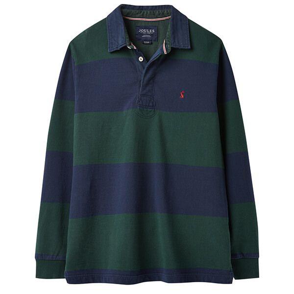 Joules Onside Green Block Stripe Long Sleeve Stripe Rugby Shirt