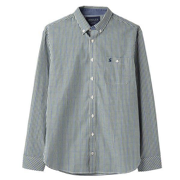 Joules Abbott Green Blue Check Long Sleeve Classic Fit Peached Poplin Shirt