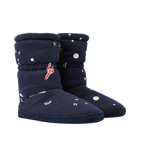 Joules Padabout Junior Navy Rockets Slipper Socks Size S