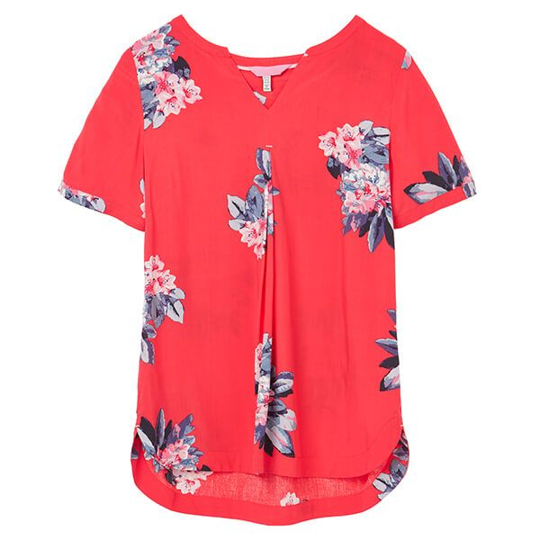 Joules Floral Red Leona Notch Neck Woven Top