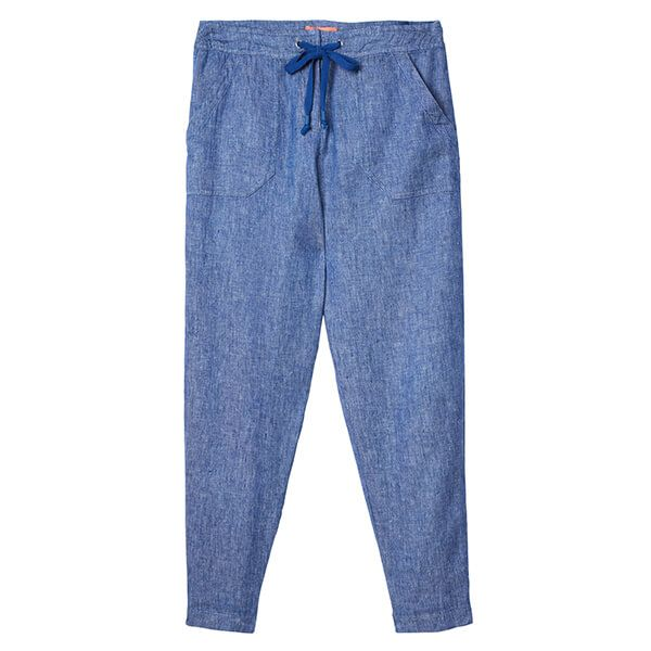 Joules Lindy Crop Blue Cropped Linen Trousers