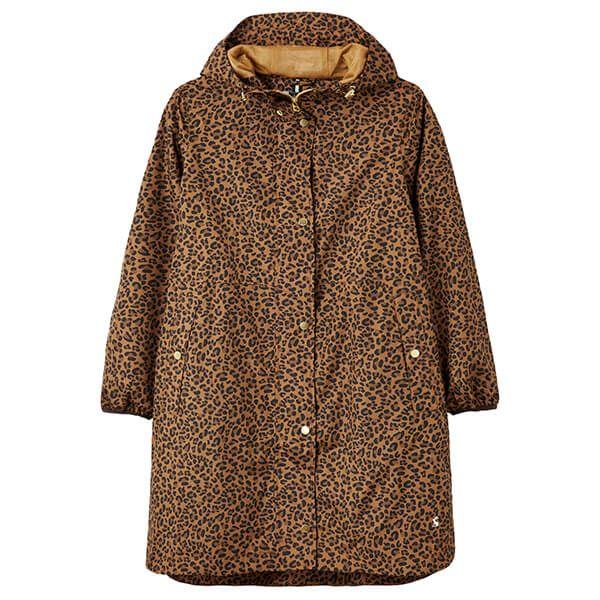 Joules Tan Leopard Waybridge Waterproof Raincoat Size 8