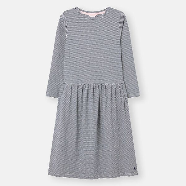 Joules Navy Cream Stripe Bernadette Low Gathered Waist Jersey Dress