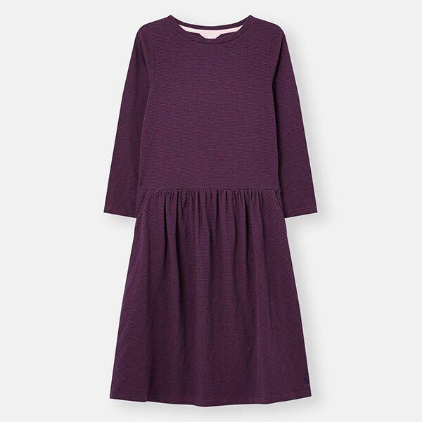 Joules Red Navy Stripe Bernadette Low Gathered Waist Jersey Dress