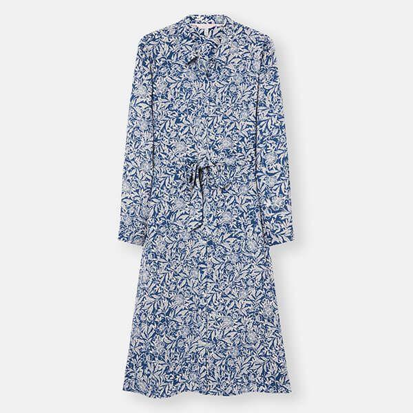Joules Blue White Floral Aurelie A Line Shirt Dress Size 16