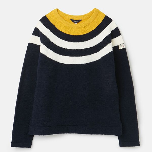 Joules Navy Block Stripe Seaport Knitted Chenille Raglan Jumper Size 12