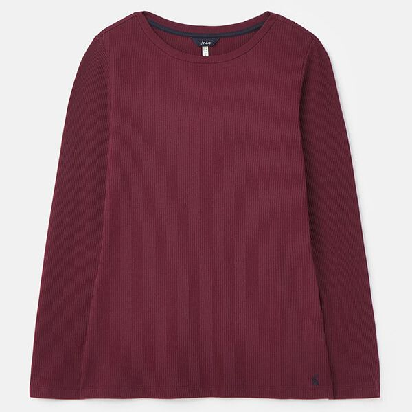 Joules Plum Grace Ribbed Jersey Top