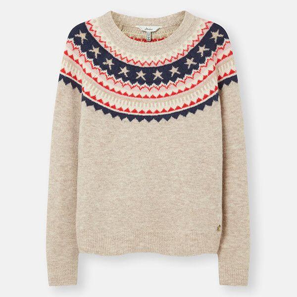 Joules Oat Fairisle Janelle Knitted Fairisle Jumper Size 16
