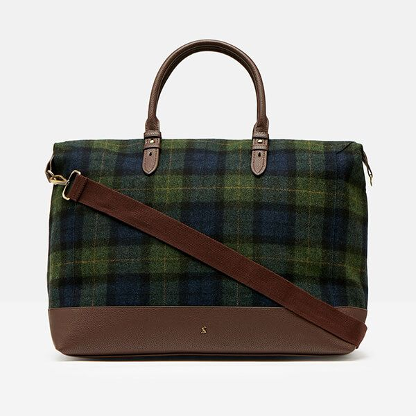 Joules Navy Green Check Fulbrook Holdall Tweed Bag