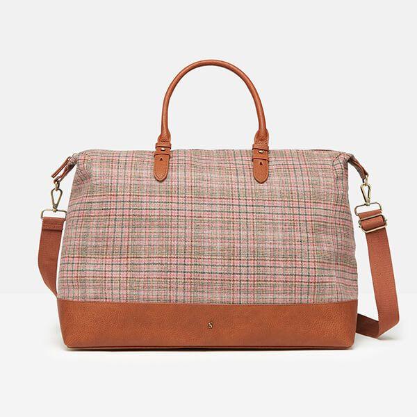 Joules Pink Tweed Fullbrook Holdall Tweed Bag