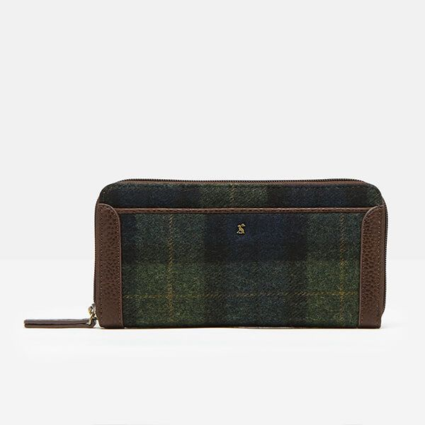 Joules Navy Green Check Fulbrook Tweed Purse