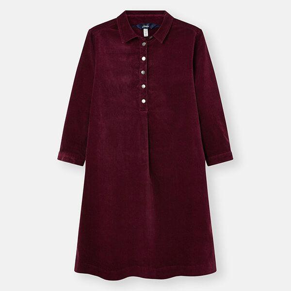 Joules Plum Stella Pop Over Cord Dress