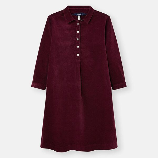 Joules Plum Stella Pop Over Cord Dress Size 12