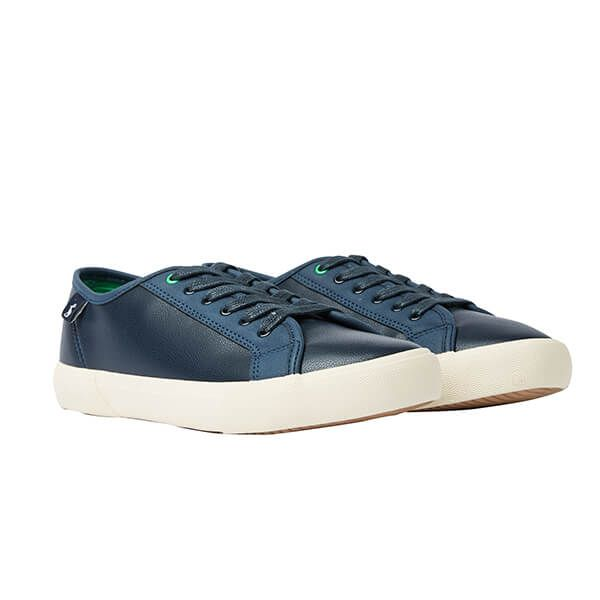 Joules Dark Blue Coast Pump Faux Leather Trainers Size 4