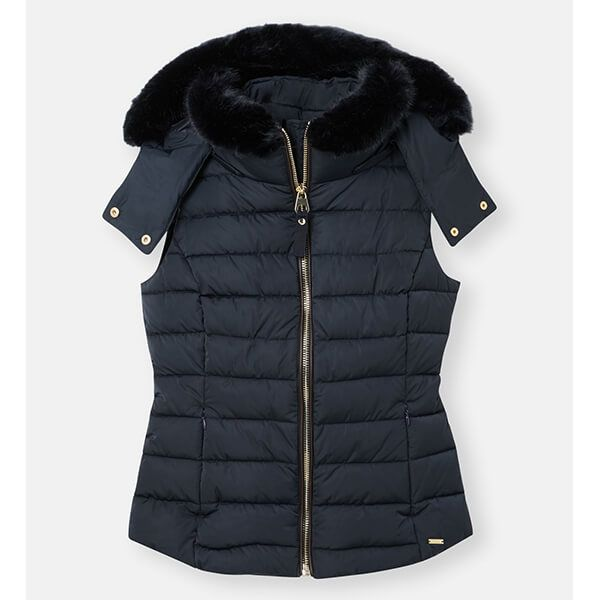 Joules Navy Merrium Elasticated Back Gilet with Fur Collar Trim Size 12