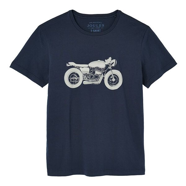Joules French Navy Flynn Graphic Print Crew Neck Tee