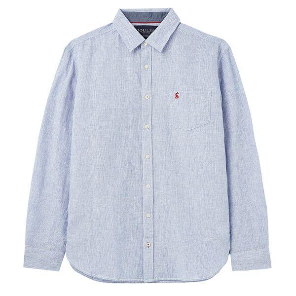 Joules Blue White Stripe Warwick Long Sleeve Classic Fit Shirt