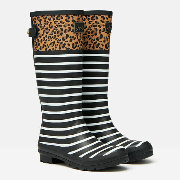 Joules Tan Leopard Stripe Printed Wellies with Back Gusset Size 8