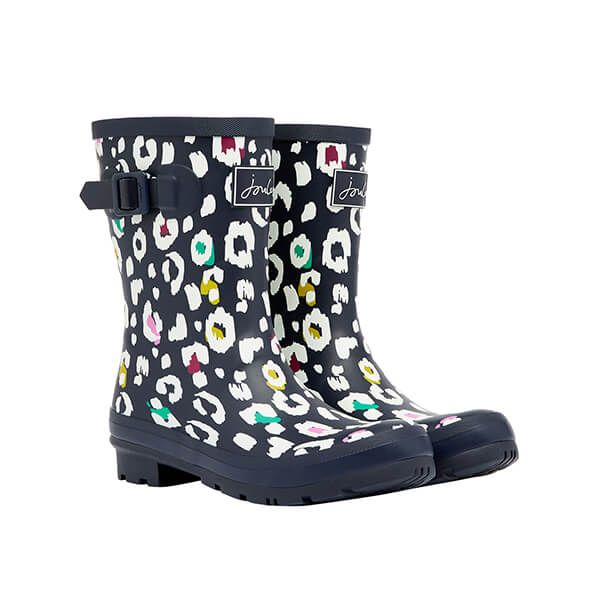 Joules Navy Leopard Molly Mid Heighted Printed Wellies Size 8