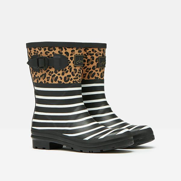 Joules Tan Leopard Stripe Molly Mid Height Printed Wellies