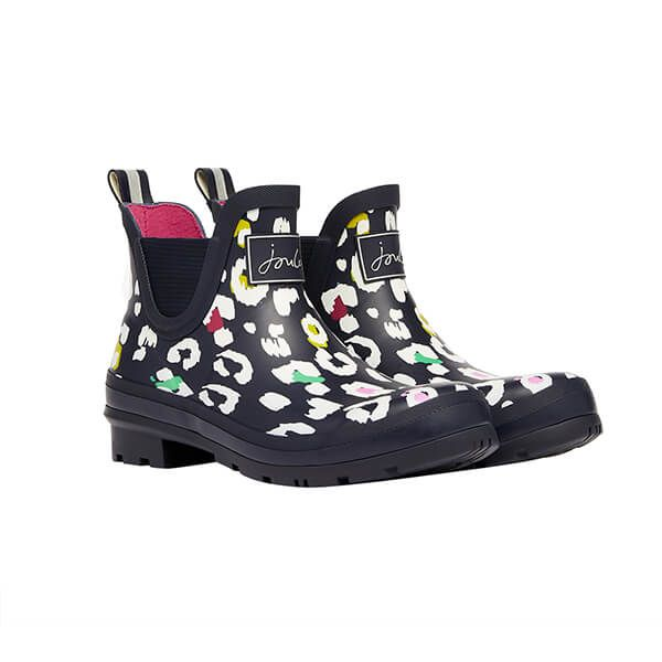 Joules Navy Leopard Molly Short Heighted Printed Wellies Size 4