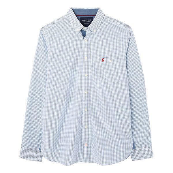 Joules Blue Check Abbott Long Sleeve Classic Fit Peached Poplin Shirt