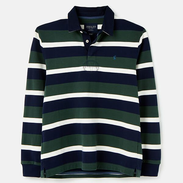 Joules Green Stripe Onside Rugby Shirt Size M