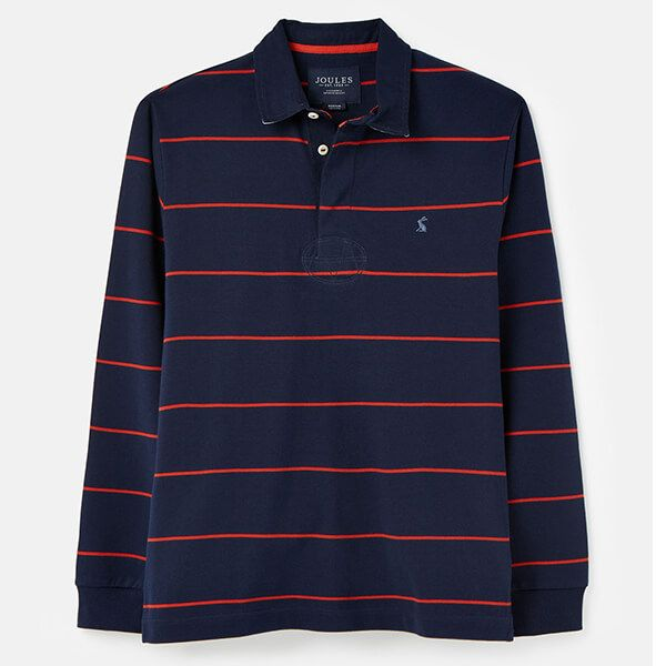 Joules Navy Red Stripe Onside Rugby Shirt Size L