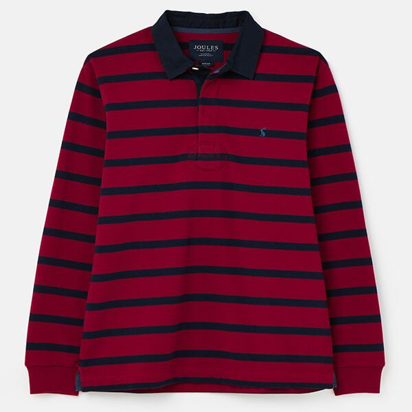 Joules Red Navy Stripe Onside Rugby Shirt Size L