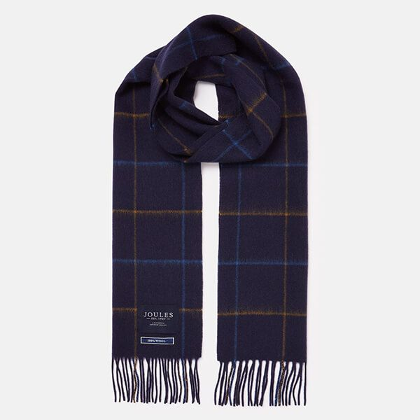 Joules Navy Yellow Check Tytherton Wool Checked Scarf