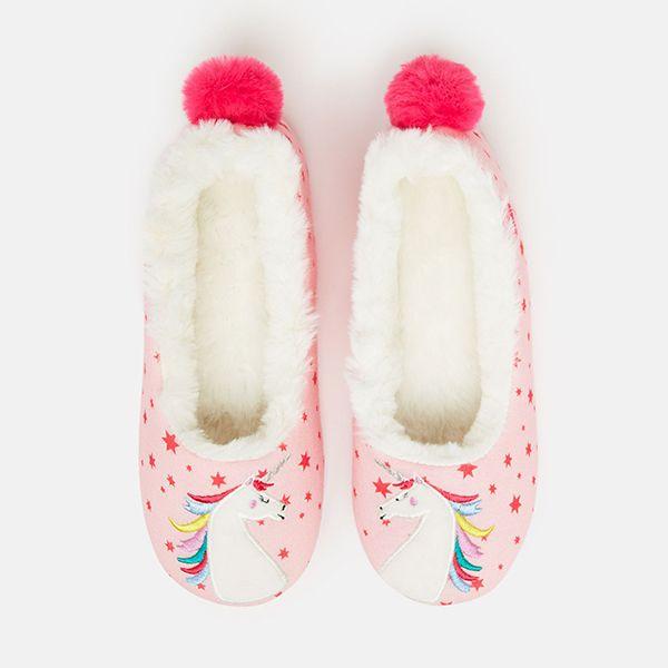 Joules Pink Unicorn Junior Dreama Padabout Slippers