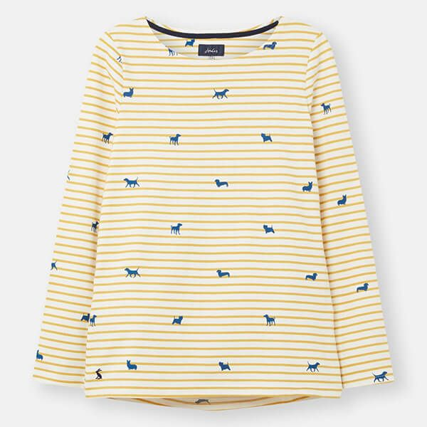 Joules Dog Stripe Harbour Print Long Sleeve Jersey Top Size 10