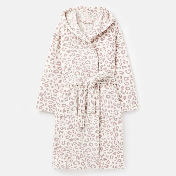Joules Cream Grey Leopard Rita Fluffy Dressing Gown Size S-M
