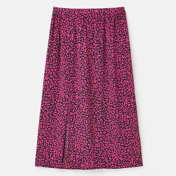 Joules Navy Leopard Bea Front Split Skirt