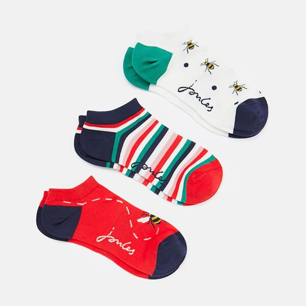 Joules Red Bees Rilla 3 Pack of Ankle Socks Size 4-8