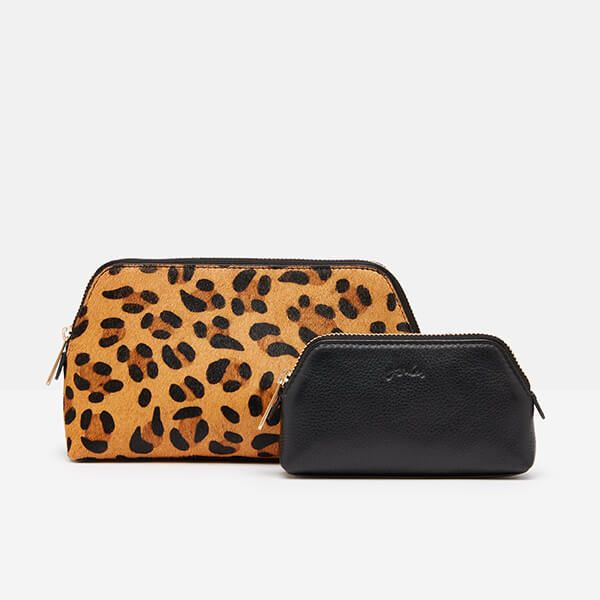 Joules Black Peplow Leather Cosmetic Purse Gift Set