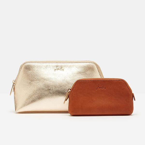 Joules Gold Peplow Leather Cosmetic Purse Gift Set