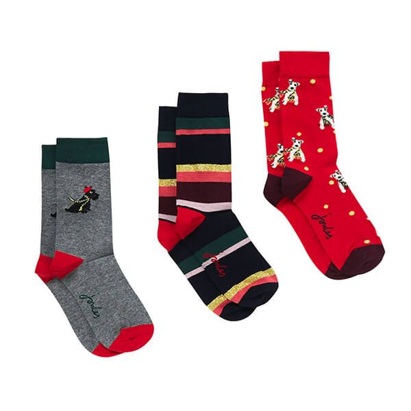 Joules Grey Christmas Dog 3 Pack of Bamboo Socks