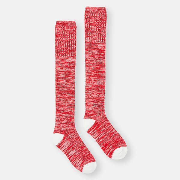 Joules Red Rose Knitted Trussel Socks Size 4-8