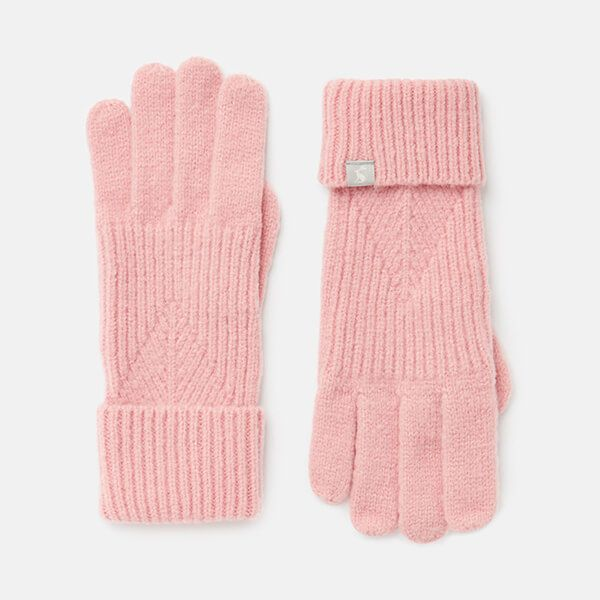 Joules Pale Pink Thurley Knitted Gloves