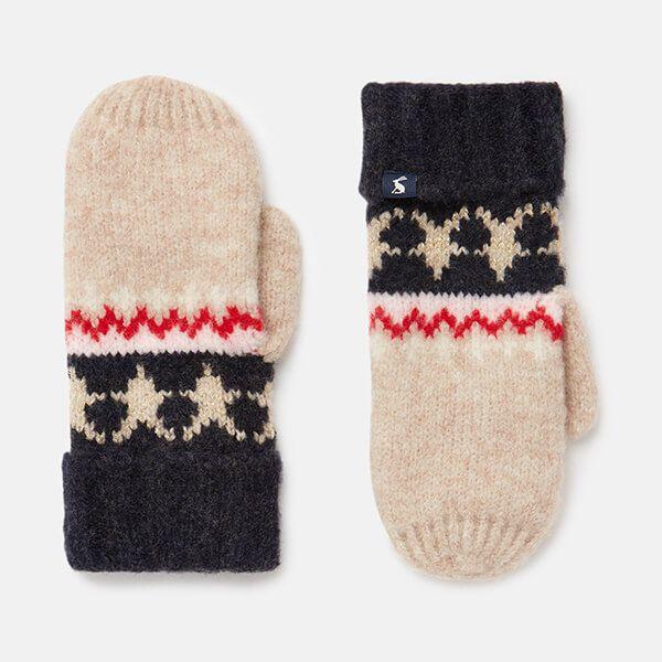 Joules Oat Fairisle Wilbury Fairisle Knitted Mittens