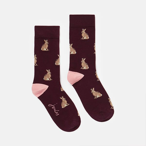 Joules Purple Hare Bamboo Socks Size 4-8