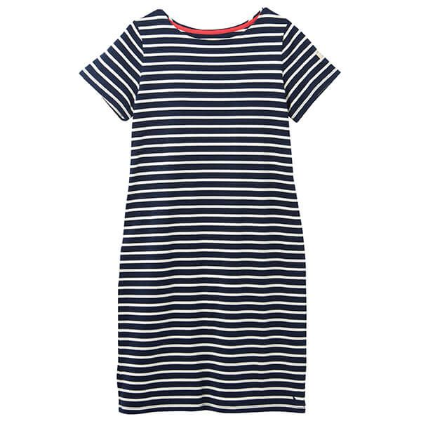 Joules Navy Cream Stripe Riviera Long Short Sleeve Jersey Dress