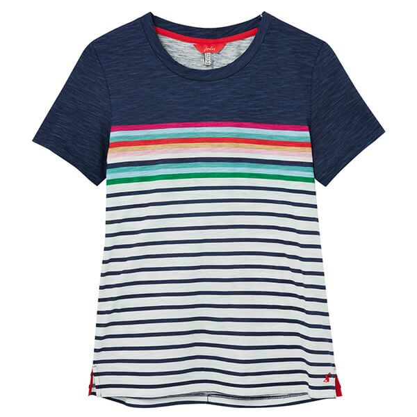 Joules Blue Border Stripe Carley Classic Crew Neck Top