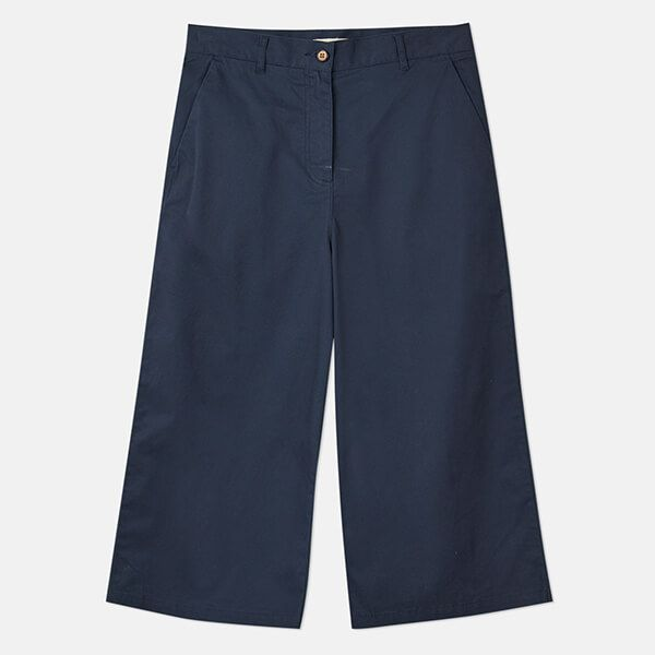 Joules French Navy Compton Wide Leg Cropped Chinos