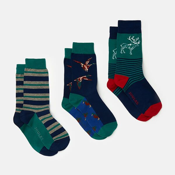 Joules Game Animal Striking 3 Pack of Socks Size 7-12