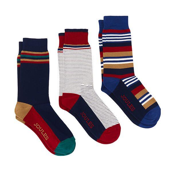 Joules Multi Stripe Striking 3 Pack Socks Size 7-12