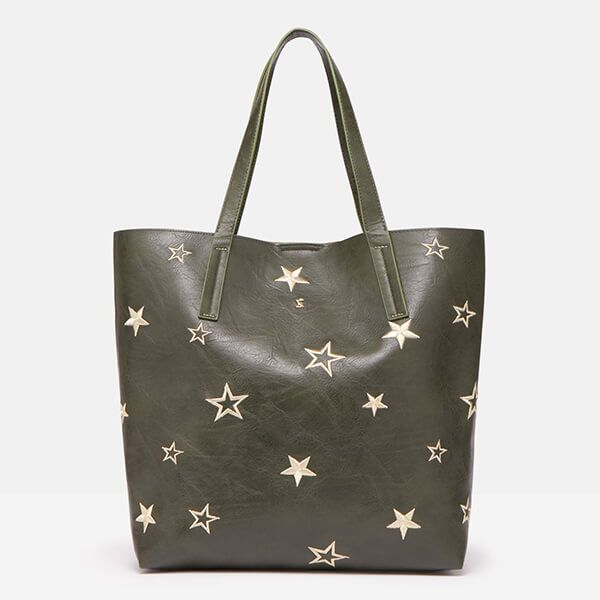 Joules Khaki Cindy Embroidered Shopper